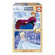 Frozen: 2 Super Puzzles em Madeira com 25 Peças