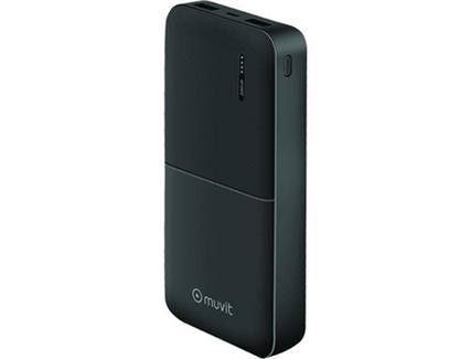 Powerbank MUVIT 20000MAH (20.000 mAh – 2 USB – MicroUSB – Preto)