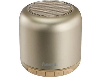 Mini Coluna Bluetooth HAMA 173180 (Dourado – 3 W – Autonomia: 8 horas – Alcance: 10 metros)