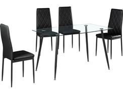 Conjunto Mesa + 4 Cadeiras CSD Princess (Preto – Tampo: Vidro Temperado – Pernas: Metal – 75 x 80 x 130 cm)