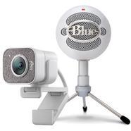 Pack Logitech StreamCam Webcam USB-C Full HD Branca + Blue Microfones Snowball ICE Microfone Branco