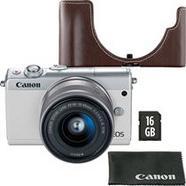 Canon EOS M100 + EF-M 15-45mm f/3.5-6.3 IS STM – Branco + Cartão de Memória + Bolsa