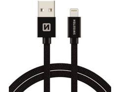 Cabo SWISSTEN Textile (USB – Lightning – 1.2 m – Preto)