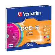 1×5 Verbatim DVD-R 4,7GB Colour 16x Speed, Slim Case