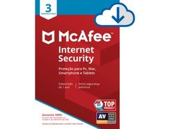 Software MCAFEE Internet Security (3 Dispositivos – 1 Ano – PC, Mac, Smartphone e Tablets – Formato Digital)