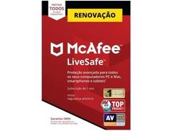 Software MCAFEE Livesafe Renovação (1 ano – PC, MacBook, Smartphone e Tablet – Formato Digital)