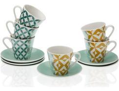Conjunto de 6 Chávenas de Café c/ Pires VERSA Aqua Karlsen (Porcelana)
