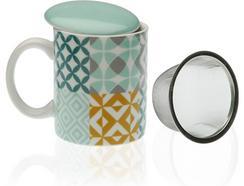 Caneca de Chá c/ Filtro e Tampa VERSA Aqua Karlsen (Porcelana)