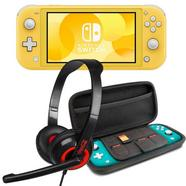 Nintendo Switch Lite Amarela + Set Transporte Azul + Headset