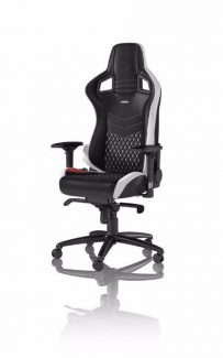Cadeira noblechairs EPIC Real Leather Gaming Preto/Branco/Ve